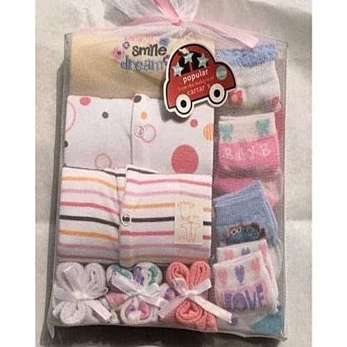 10 In 1 Unisex New Born Gift Pack - Different Pattern 3Pcs Overall + 3pcs Baby Cleaning Towels + 4 Pairs Of Socks - Comes In Different Pattern Designs & Various Colour As Available