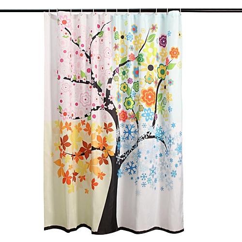 Waterproof Colorful Tree Pattern Bathroom Shower Curtain Floor Room With 12 Hook 180x180cm
