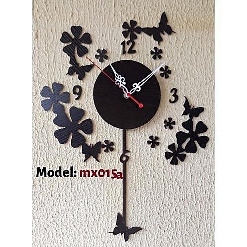 Decorative Butterfly Acrylic Wall Clock: Mx015