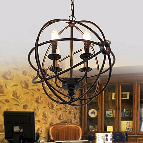 Vintage Industrial Chandelier 6Light Hanging Fixture Orb Round Ball Cage Fixture