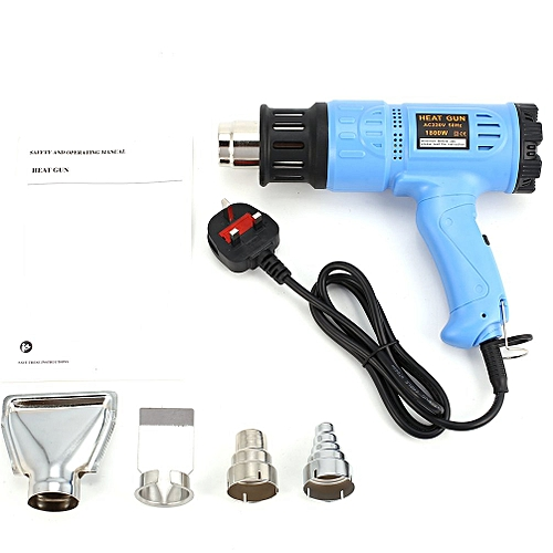 1800W Hot Air Gun Thermostat Heat Gun Heat Air Gun Blower Thermal Power Tool Blue UK