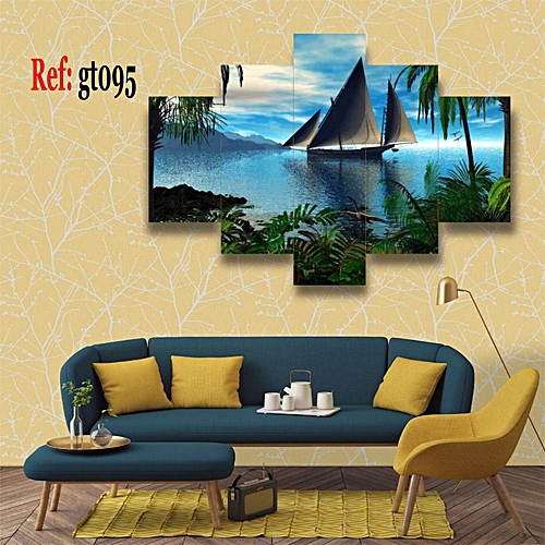 Coast Ship 5 Piece HD Canvas Wall Art