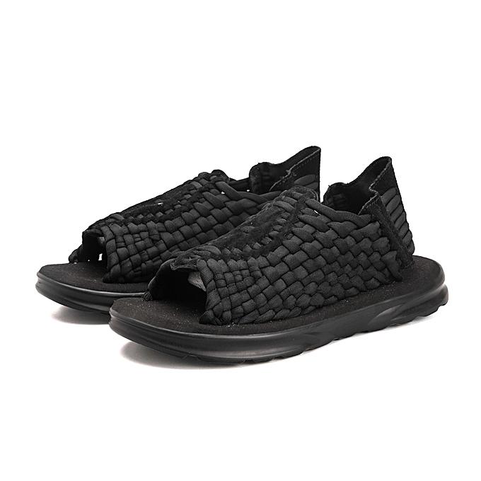 ffc76b373e9 Summer Sandals Mens Beach Shoes Handmade Weave Fashion Hollow-Out Breathable  Casual Black