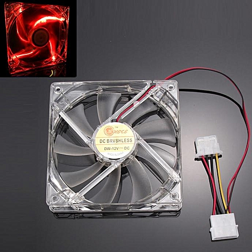 Muliawu Store Red Quad 4-LED Light Neon Clear 120mm PC Computer Case Cooling Fan Mod-Clear