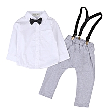 73f00d57 Kids Baby Boys Cotton Shirt Tops+Pants Overalls Outfits Gentleman Clothes  Set