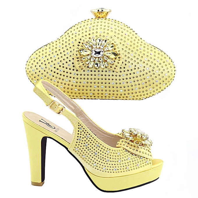c0138932f00a6 Nice Looking Yellow High Heels Italian Shoe With Matching Bags Wedding  Italy Woman Shoes And Bags Set Decorated With Rhinestones