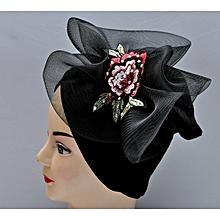 Ladies Black Turban Velvet Fascinator Design 57c4ccfe54d