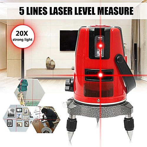 20 Times Light Automatic Self Leveling Red 5 Line Laser Level 360° Cross Measure Red