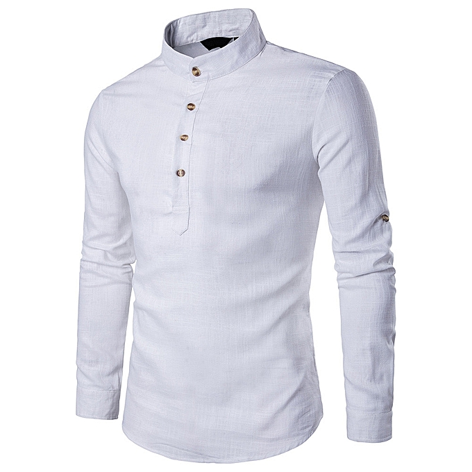 e5a7455440c Hiaojbk Store Men Stand Neck Long Sleeve Daily Look Linen Shirts Tops Blouse  WH L