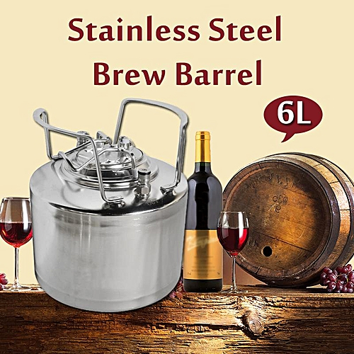 6L 1.6 Gallon Stainless Steel Beer Barrel Syrup Wine Brew Keg Growler Homemade