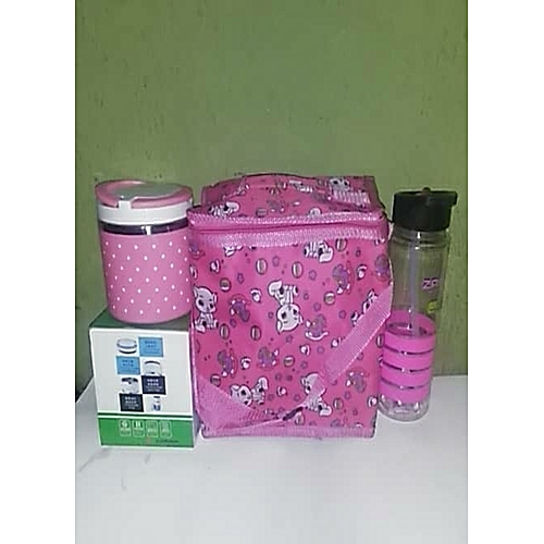 Unisex Lunch Pack - Bag + Plate +Stylish Water Bottle - Pink