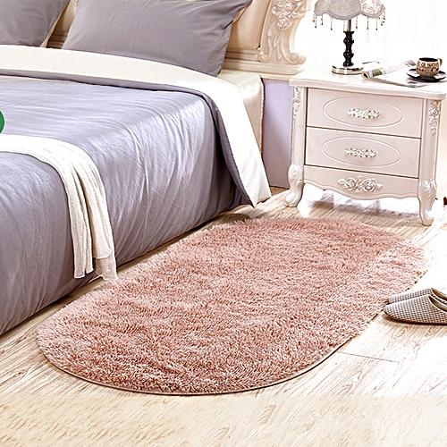 Home Bedside Floor Rug Simple Solid Washable Soft Oval Shaped Door Mat