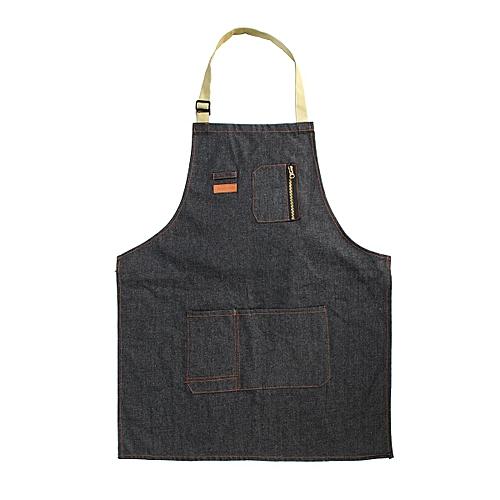 Coffee Shop Working Denim Apron Barista Pockets Soldering Chef Barber Work Wear (Long)