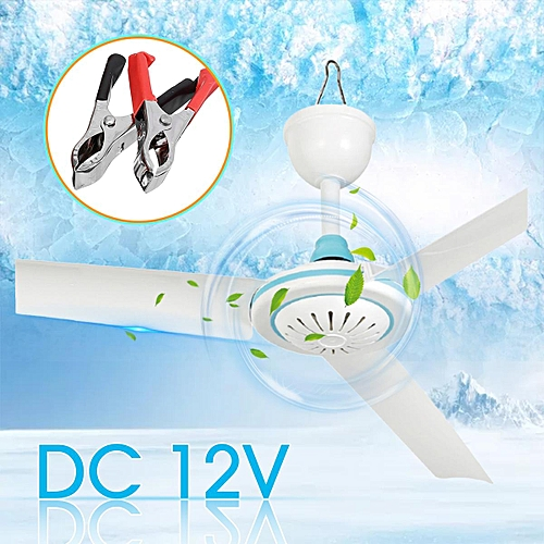 "ELECTRIC 24"" PORTABLE 3 BLADE MINI 12V DC CEILING FAN EASY HANG NEEDS NO WIRING"
