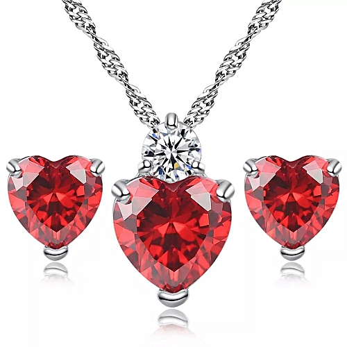 Ladies Heart Shape Necklace Earring Set - Red