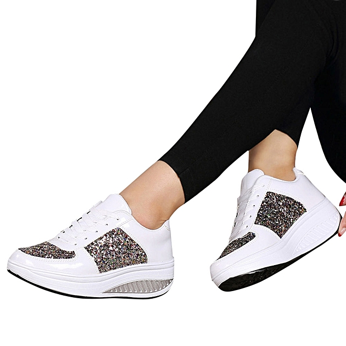 Women's Shoes Ladies Fashion Wedges Sequins Shake Sneakers WEHD2IY9