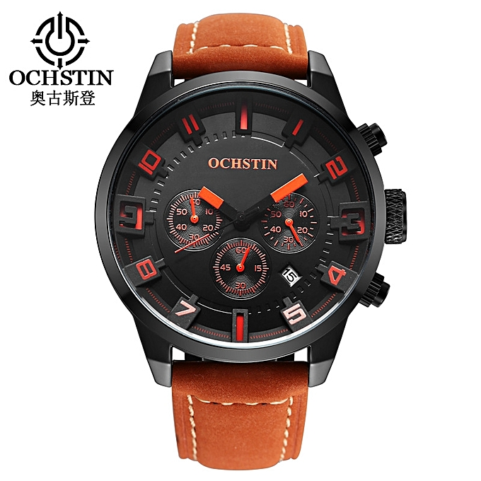 ochstin Swiss Men's Watches Fashion Large Dial Leisure Fashion Watch Leather Waterproof Watch Manufacturers Wholesale