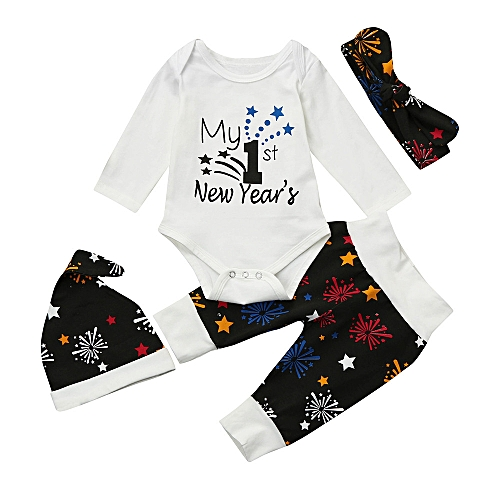 a2ba8a42a Baby Outfit Newborn Baby Girls Boys New Year s Outfits Clothes  Romper+Pants+Hat Headband Set-White