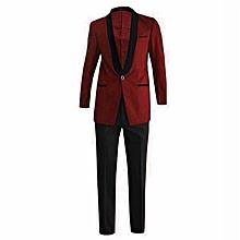 9f20420f4e5f Wine Red And Black Slim Fit Tuxedo Ceremonial Suit