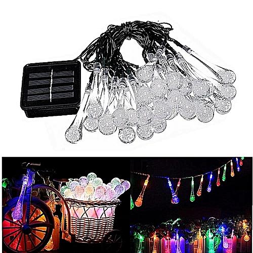 House Decor4.8M 30LED Large Water Drop Solar String Lights Party Wedding Decor Lights- Multicolor
