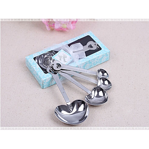 Watermalend Heart Measuring Spoons Stainless Steel Tool Wedding Party Gift Souvenirs