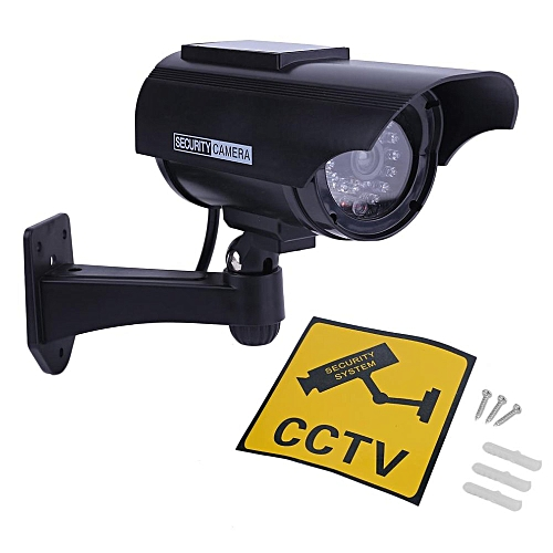 Indoor Outdoor Solar Power Dummy Fake Imitation Home CCTV Security Camera Black