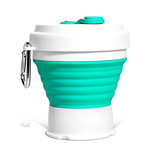 Silicone Folding Retractable Coffee Cup 350ml - Aquamarine