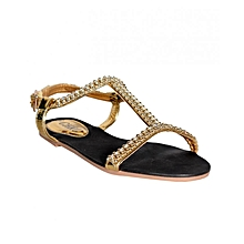 5187575f605c Women  039 s Fashionable Flat Sandals- Gold