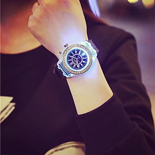 Geneva Waterproof Quartz Wrist Watches LED Backlight Sport -Black