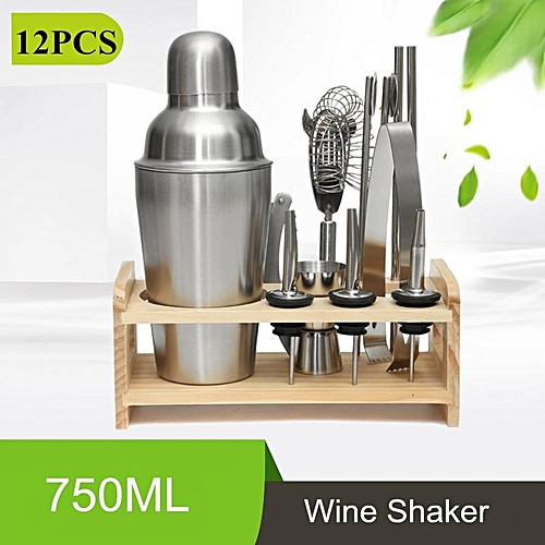 750ML New 12PCS Bar Tool Cooktail Wine Shaker Maker Set Stand Stainless Steel Silver