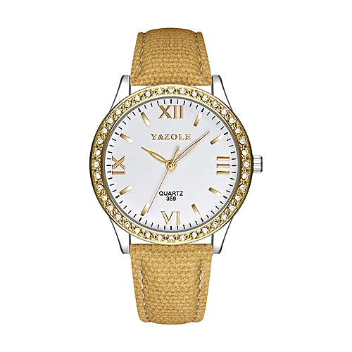 Diamond Accessory Fashion Women Leather Wrist Watches-Silver+Yellow