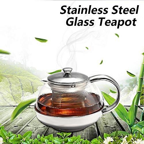 1050ml Stainless Steel Glass Faced Modern Teapot Herbal & Tea Leaf Infuser
