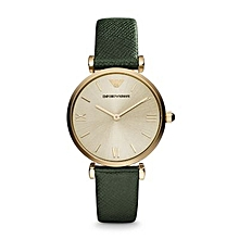 f3bb2c54673 Women  039 s Champagne Dial Leather Band Watch