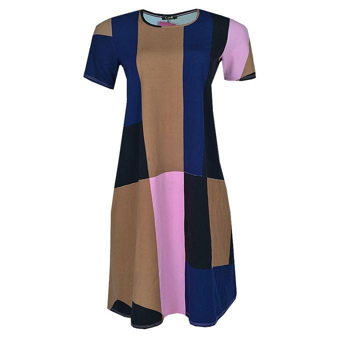 Canill Multi Tone Round Neck Flare Midi Dress - Multicolour | Buy ...