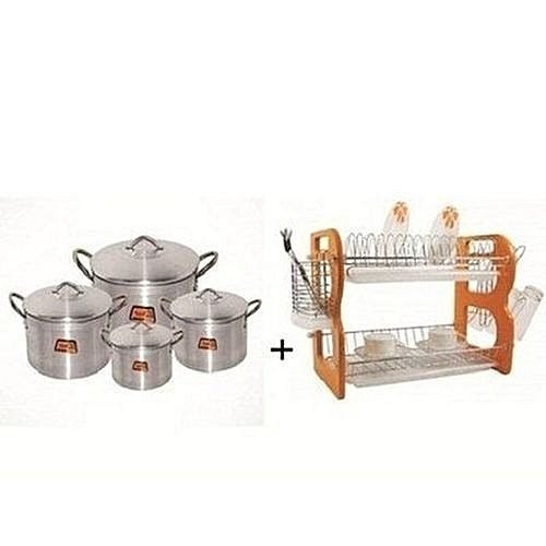 Universal 2 Tiers Plate Rack And Tower 4 Pot Set Bundle