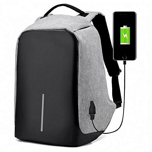 Anti Theft Security Travel Backpack & Laptop Bag With USB Charging Port-B08 -Grey