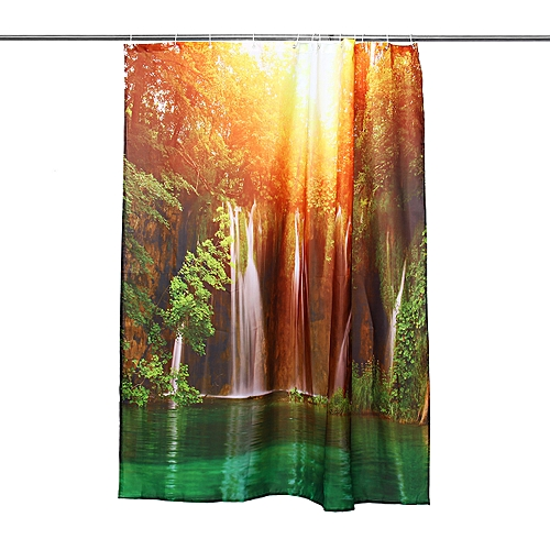72''x72'' 3D Waterfall Nature Scenery Wall Hanging Shower Curtain Bathroom Decor