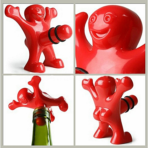 1pc Newest Funny Happy Man Guy Wine Stopper Novelty Bar Tool -Red