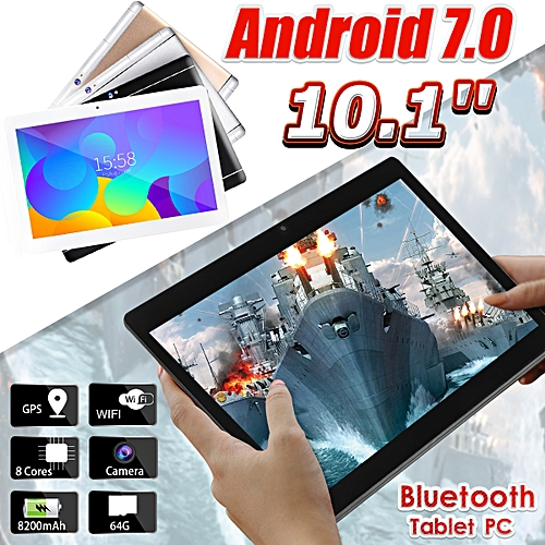 HOT SALE 10.1'' 4G+64GB Android 7.0 Tablet PC Octa 8 Core HD WIFI Bluetooth 2 SIM 4G NEW - Black