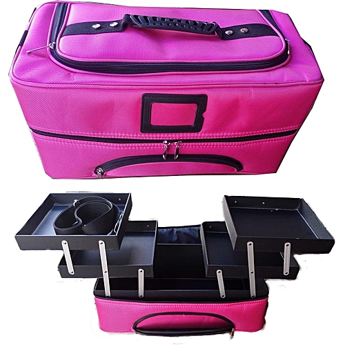 Generic 3-Layers Large Cosmetic Organizer Professional Makeup Box Case With Detachable Handle PINK