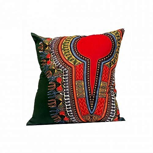 African Print Throw Pillow - Green/Multicolour