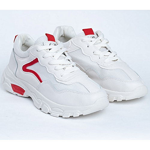 Ladies Fashionable Sneakers Shoes With Red Details