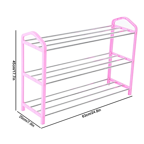 3 Tiers Shoe Rack Metal Plastic Disassembly & Assembly Shoes Storage Rack