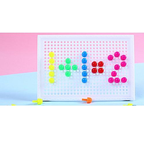 Generic Montessori Puzzle Peg Board 96 Mushroom Nails Kids Educational Jigsaw Toys Gifts