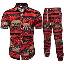 b0db2205 Men Suit 2 In 1 Hawaiian Short Sleeve Flower Shirt Trousers