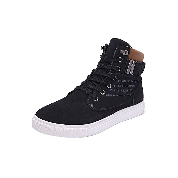 64a7bffc87e9e Fashion Mens Oxfords Casual High Top Shoes Shoes Sneakers Shoes  BK 39-Black CN SIZE