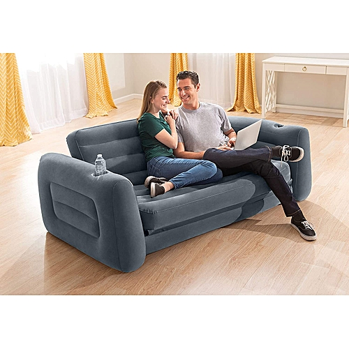 2 In 1 Inflatable Pull Out Sofa & Mattress Sleeper Wit Pump