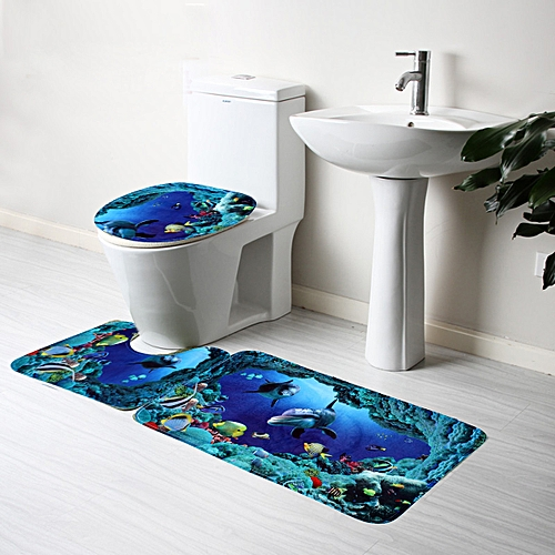 3pcs Bathroom Non-Slip Deep Sea Shark Pedestal Rug + Lid Toilet Cover + Bath Mat