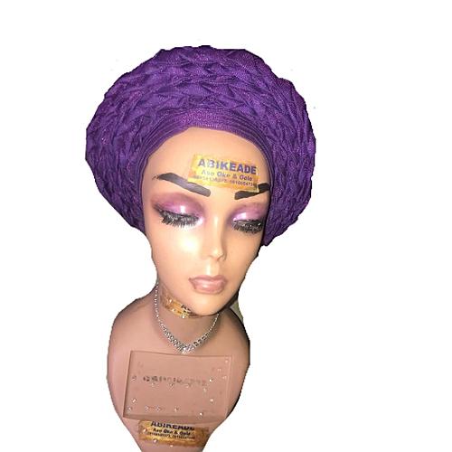 Braided Autogele In Purple (plain New Design Ready2wear Gele