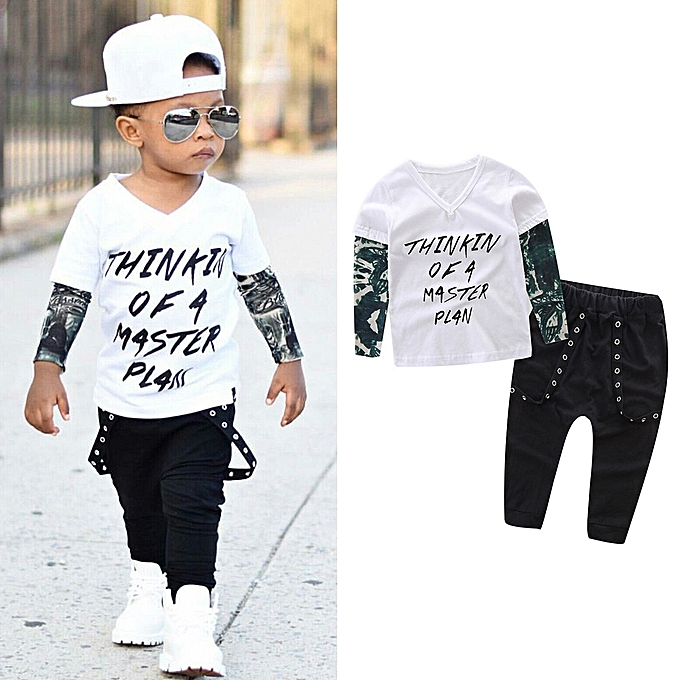 bf9f81a15263 Baby Outfit Newborn Infant Baby Boy Letter Tattoo T Shirt Tops Pants Outfits  Clothes Set-